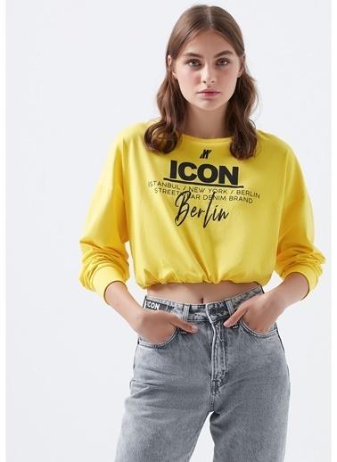Mavi Mavi 1600228-32502 Sarı Yazı Baskılı Kadın T-Shirt Sarı